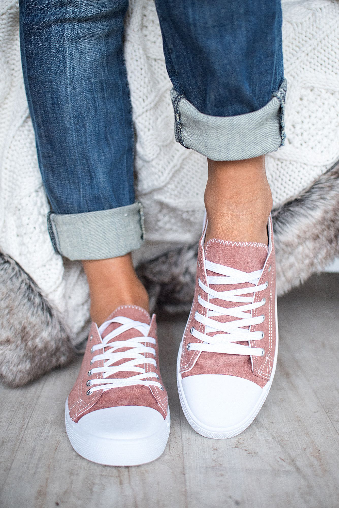 On the Field Suede Lace Up Sneakers (Mauve) - NanaMacs.com - 3