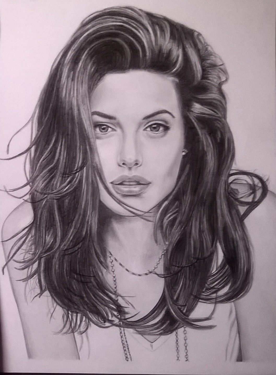 Angelina jolie matita su cartoncino liscio 24x33 love drawings pencil drawings art drawings