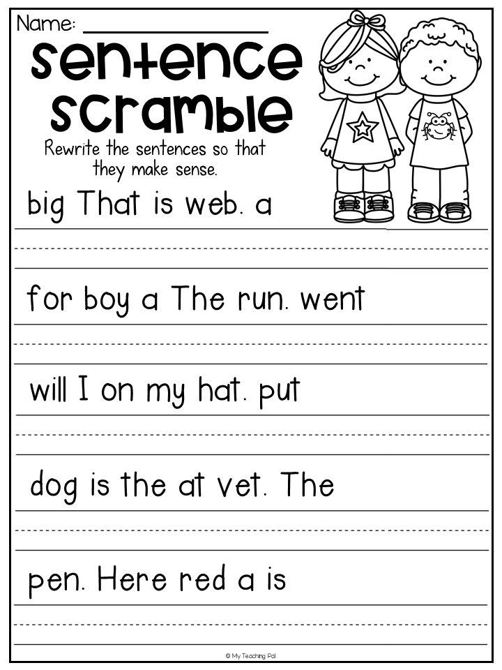 Sentence Scramble Worksheet For Kindergarten. Students Unscramble The Words  And Rewrit… Kindergarten Grammar Worksheets, First Grade Writing,  Kindergarten Writing