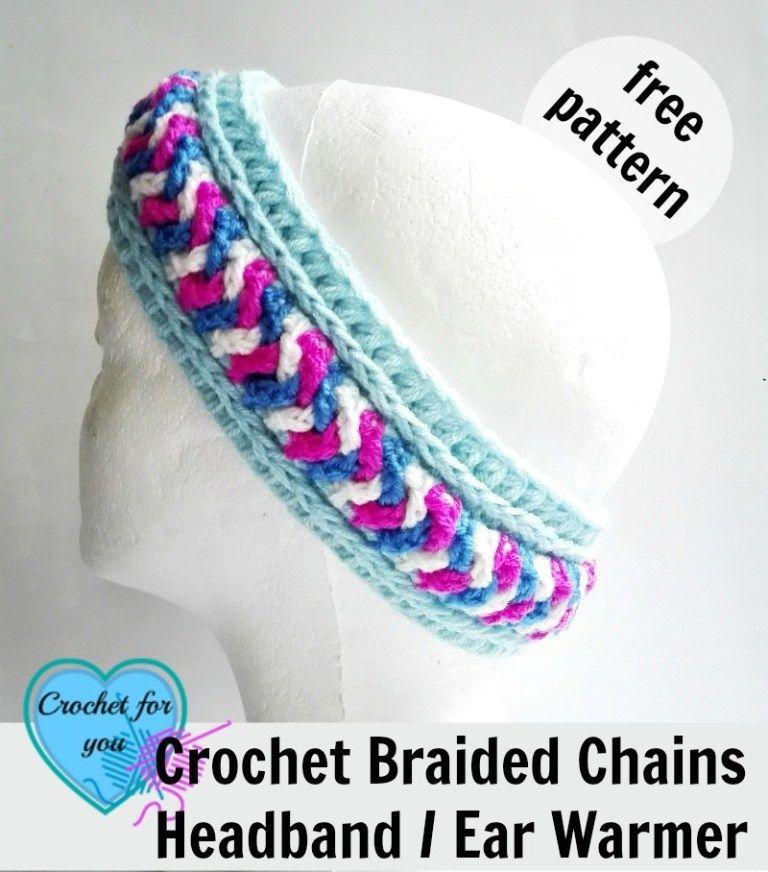 Free Crochet Braided Ear Warmer Pattern : Braided Chains Headband / Ear Warmer by Erangi Udeshika of ...