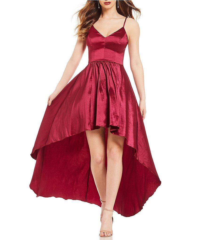 08e587ee163 B. Darlin Spaghetti-Strap Long High-Low Dress in 2019