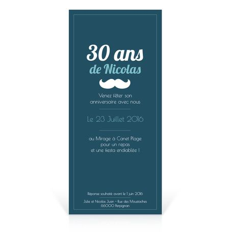 Invitation Anniversaire Homme Cupcake Et Moustache Verso