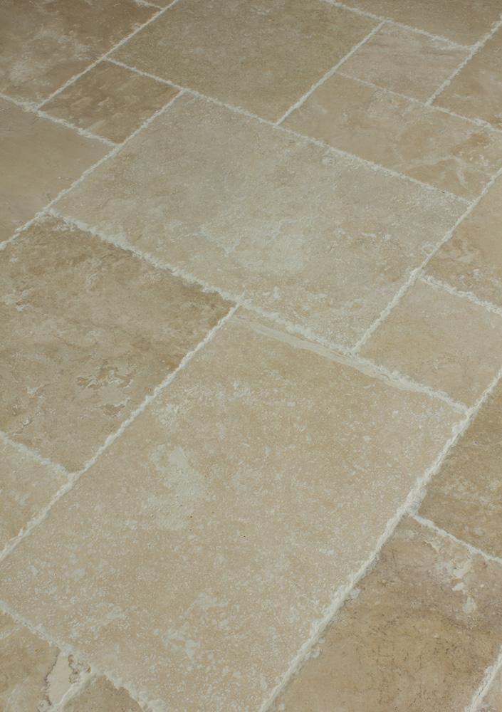 Kesir Travertine Tile Antique Pattern Sets Bathroom Floor