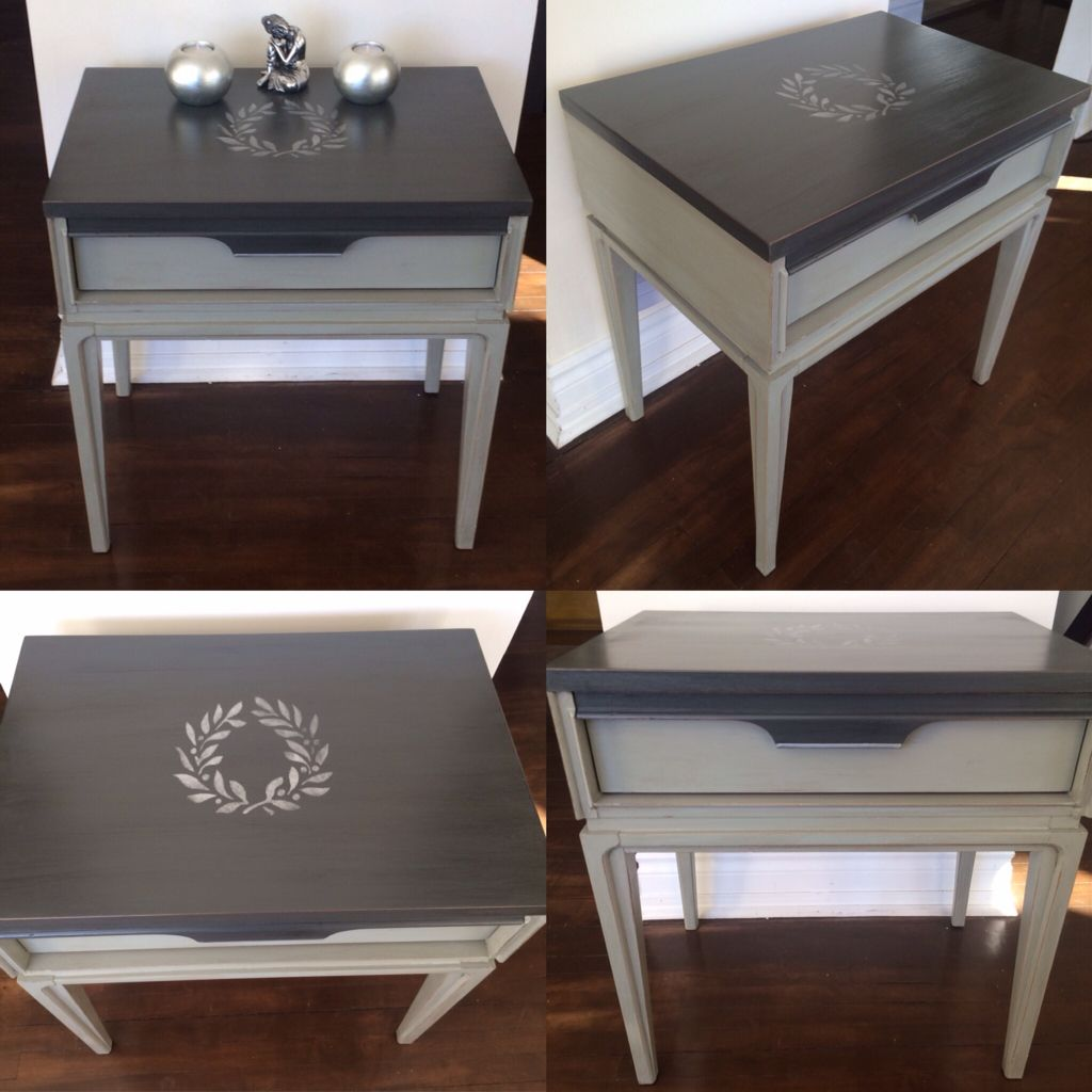 Coffee Table Chalk Painted Two Tone Grey And Silver Stencilled