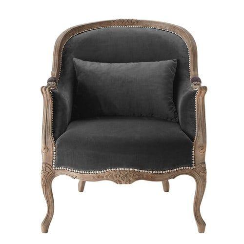 Merveilleux Velvet Armchair In Charcoal Grey