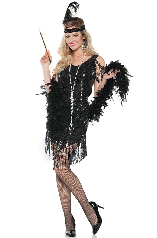 Swingin Flapper Adult Costume (Black) Fancy dress