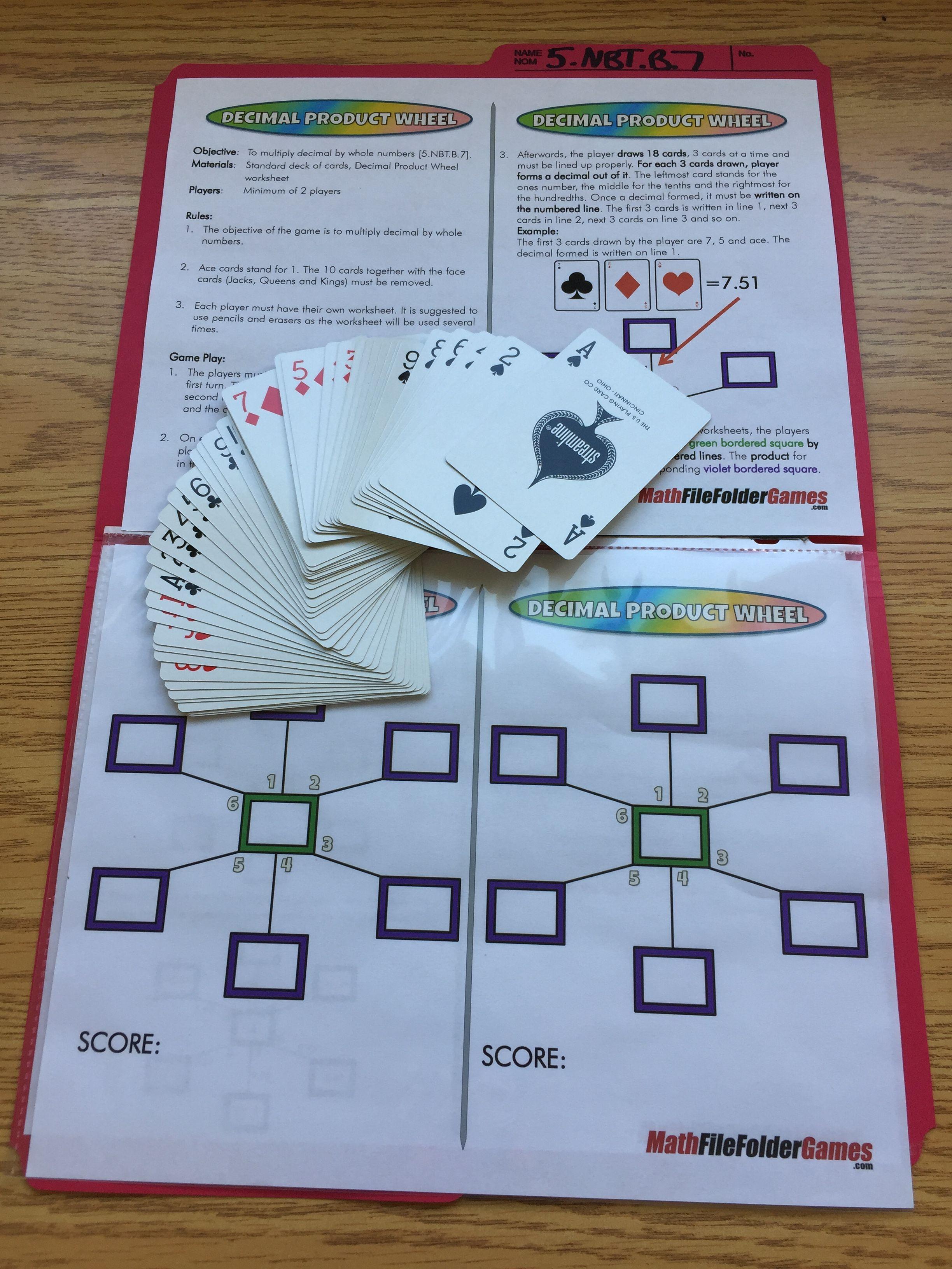 5th Grade File Folder Math Games | File folder, Math and Filing