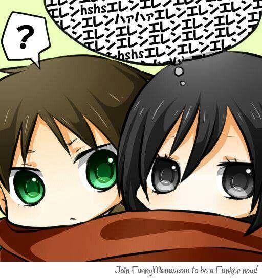 Attack on titan eren and mikasa chibi for Mikasa es su casa