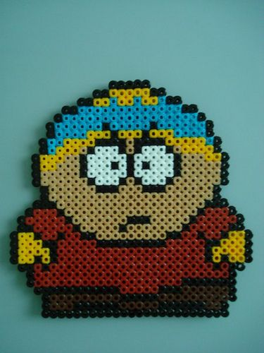 Cartman South Park hama perler beads ...BTW, GET YOUR SOUTH PARK APP: https://play.google.com/store/apps/details?id=com.JERASeng.Worldsouthpark