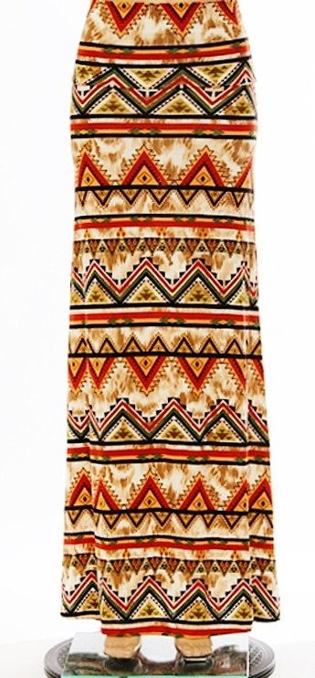 Holiday Sale Tribal print maxi skirt fold over by Foreverpeace