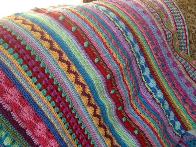 A Mixed Stitch Stripes Blanket With A Free Pattern As