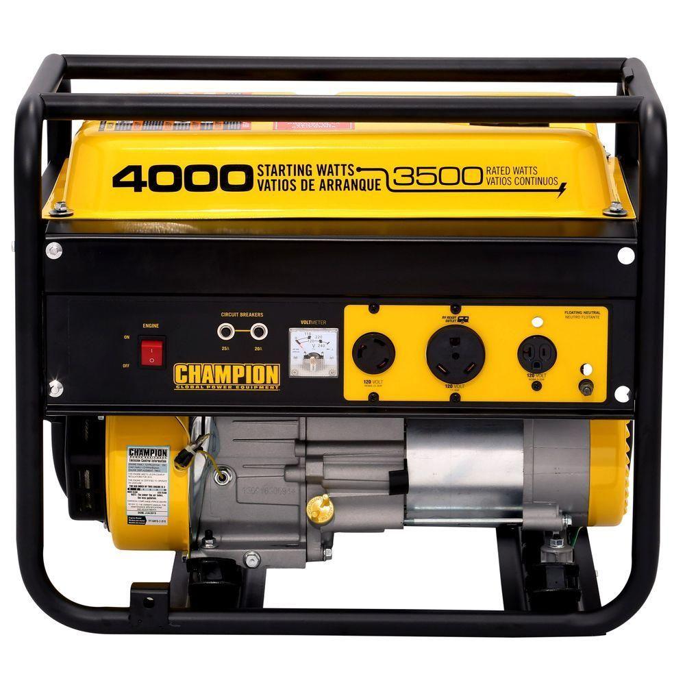 Great 3,500 Watt/4,000 Watt Recoil Start Gasoline Powered Portable Generator With  RV Ready