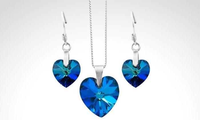 256378cf40b3 Shopping Colombia  Cadena y aretes diseño corazón con cristales Swarovski®…