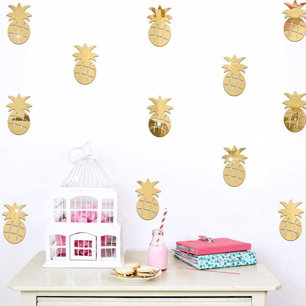 Amazon com wall stickersorangeskycn 3d pineapple room decoration wall stickers butterfly fridge