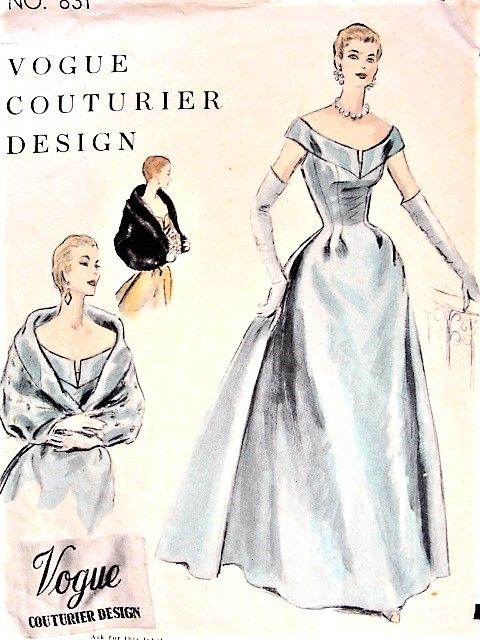 1950s GLAMOROUS Evening Gown and Cape Pattern VOGUE Couturier 831 ...