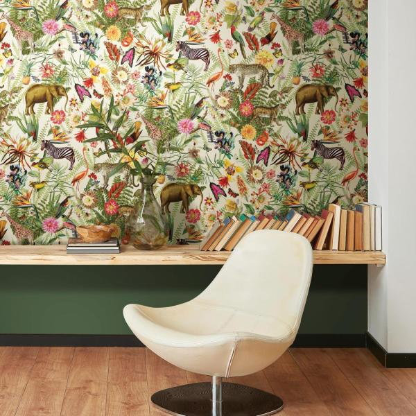 York Wallcoverings Tropical Zoo Peel And Stick Wallpaper Covers 28 18 Sq Ft Rmk11255rl The Home Depot Peel And Stick Wallpaper Room Visualizer Wall Coverings