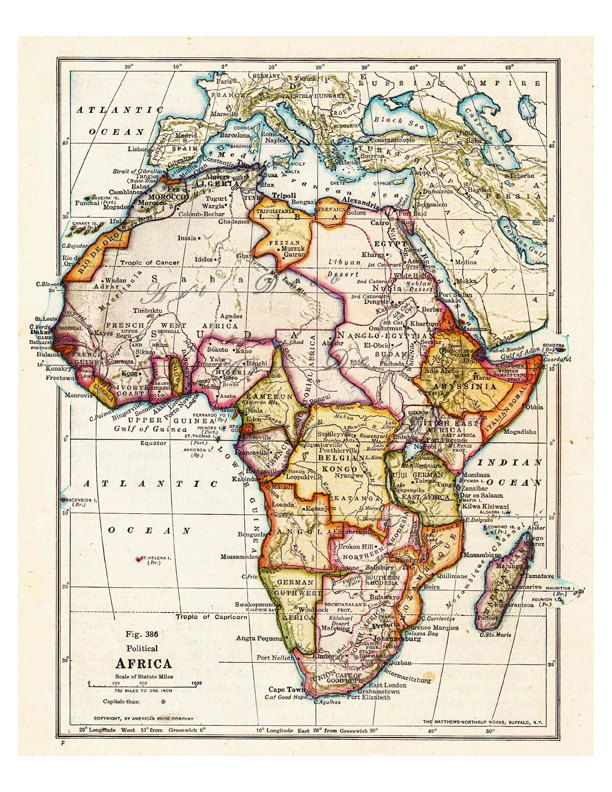 Map of africa from 1916 unique gift and home decor a vintage old map of africa from 1916 a printable digital map no by artdeco gumiabroncs Images