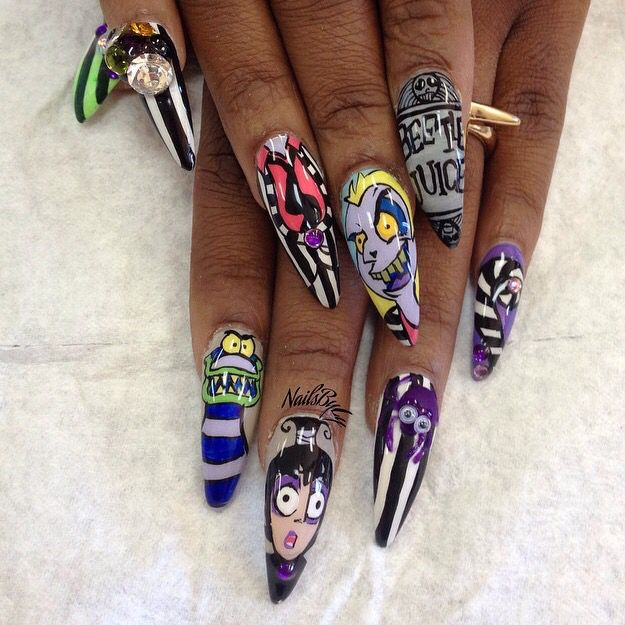 Beetlejuice | Halloween acrylic nails, Halloween nail ...