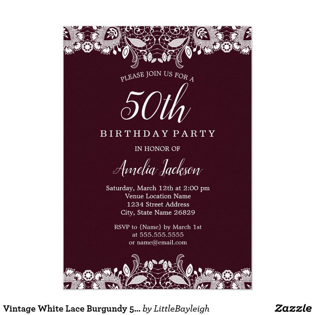 Vintage White Lace Burgundy 50th Birthday Party Card | 50 birthday ...
