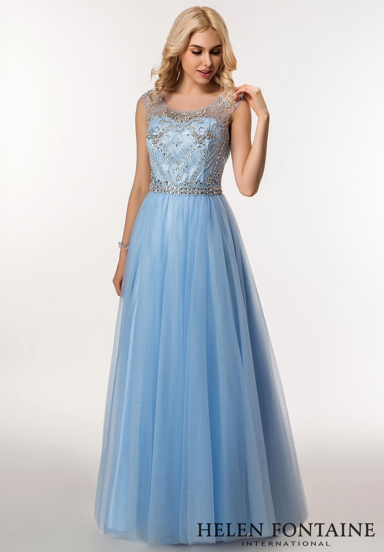 Modest Luxury A-line Jewel Gown with Open Back .Style # HFP2694 ...