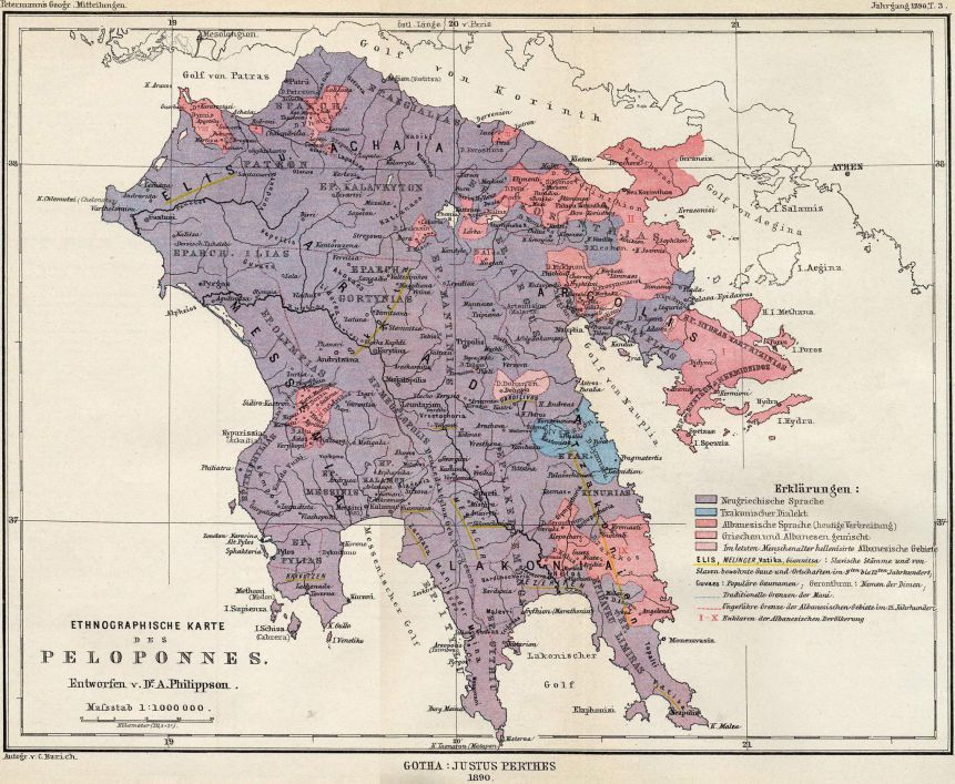Peloponnes Karte Regionen.1890 Linguistic Map Of The Peloponnese Nitsa Italy Map Map Of