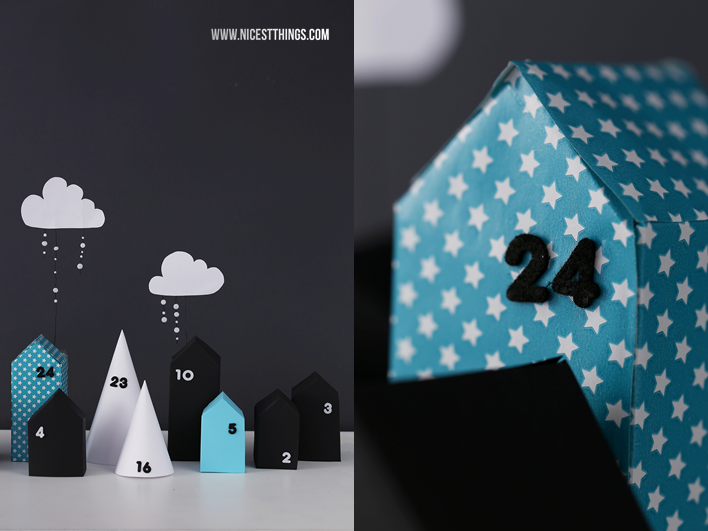 Nicest Things: DIY Winterstadt Adventskalender Weihnachtskalender Häuschen Papier Wolken Stadt ( advent calendar houses stars )