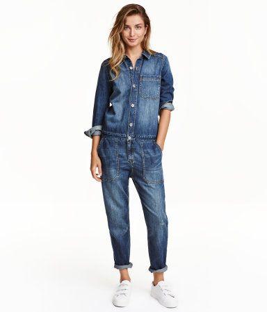 huge discount 84f0f 46cc8 Dark denim blue. Jumpsuit in soft, washed denim with ...
