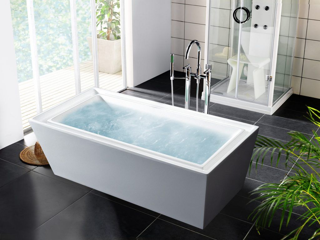 Bathroom Rectangle White Fiberglass Deep Bathtub Mixed Black Ceramic  Flooring Stand Alone Bathtubs