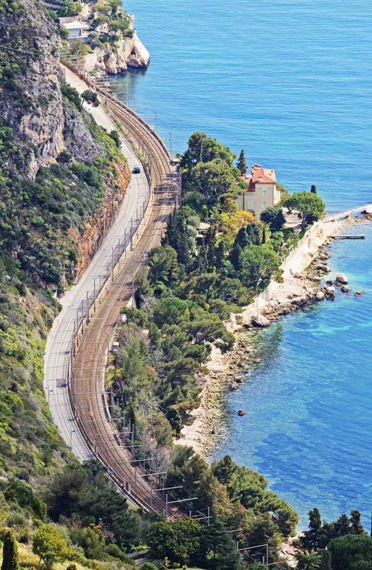 French Riviera With Windy Road Turquoise Sea And Villa From The Top Of Mountain Copyright Vvo French Riviera Scenic Roads South Of France