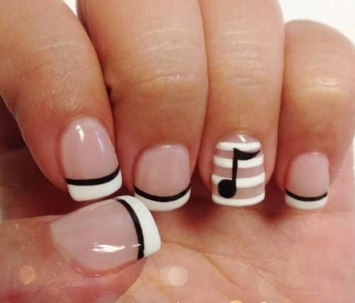 60 Examples of Black and White Nail Art | Music nails, Make up and ...