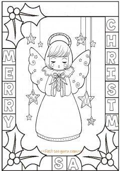 printable cute angel chirstmas holly leaves coloring pages printable coloring pages for kids