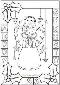 printable cute angel chirstmas holly leaves coloring pages printable coloring pages for kids