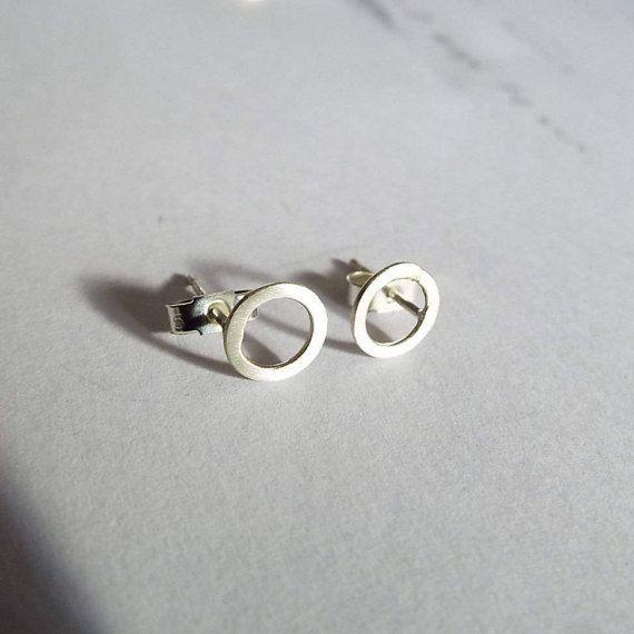 Small Circle Silver Stud Earrings. Satin Finish. by EllenKirkAli