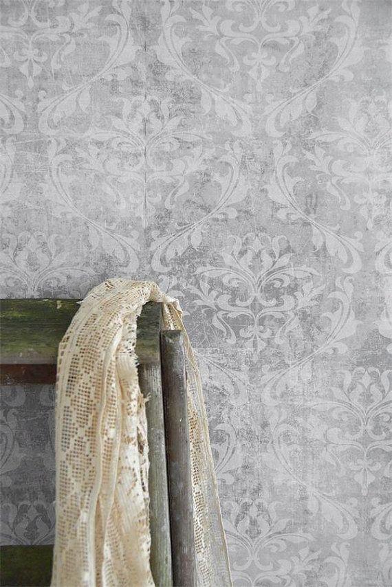 Jeanne D Arc Living Faded Grey Damask Wallpaper Section Vintage Wallpaper Textured Wallpaper Grey Damask Wallpaper
