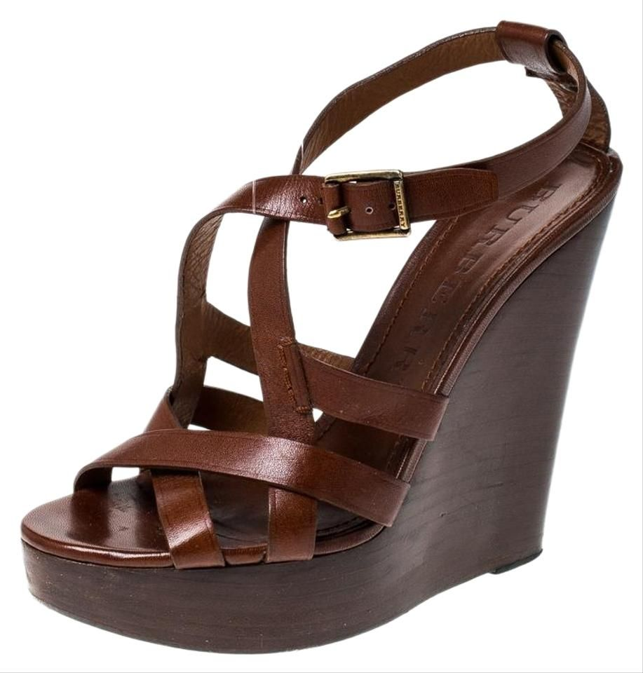 Brown Leather Strappy Wedge Platform