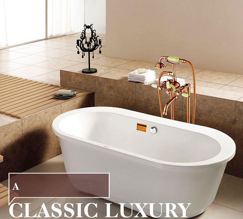 Golden Polished Floor Mounted Standing Oil Rubbed Bronze Bathtub ...