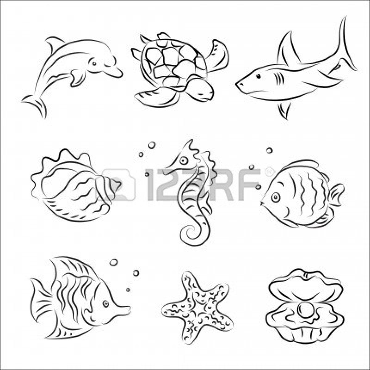 colorful sealife drawings - Google Search   Dibujo   Pinterest ...