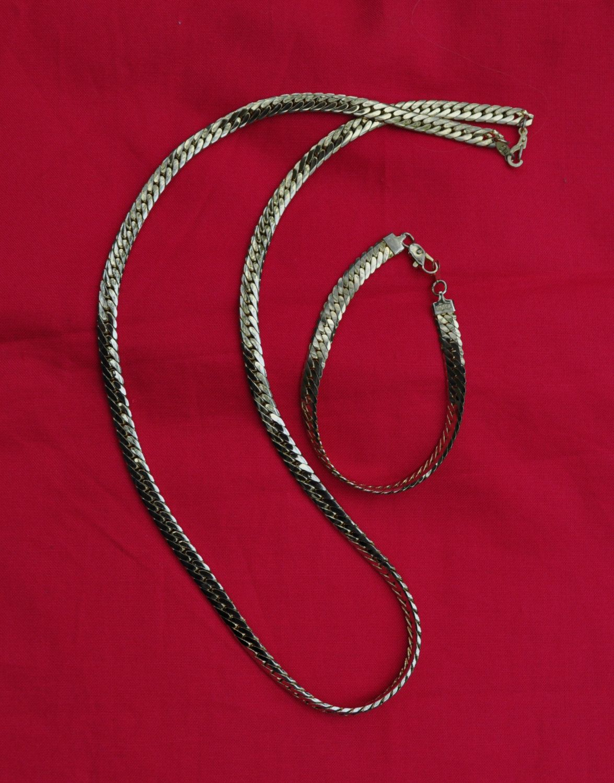 Vintage Chain Necklace And Bracelet Set Gold Tone 14kgp Herringbone Necklace 24 Inch Necklace Gold B Gold Bracelet Set Vintage Chain Necklace Bracelet Set