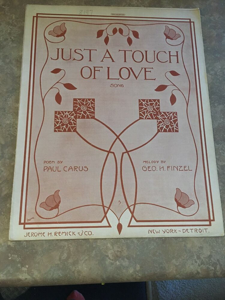 Vintage Sheet Music - Just a Touch of Love 1914 Carus /Finzel #vintagesheetmusic