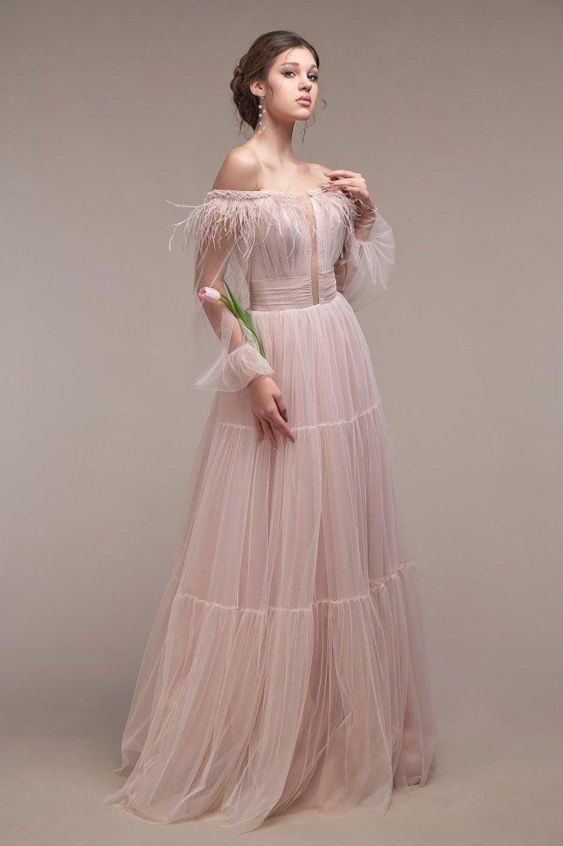 Dusty Rose Wedding Guest Dress Baloon Sleeve Bridesmaid Tulle Dress Off Shoulder Alternative Wedding Dress Boho Etsy Wedding Dress Alternative Wedding Dresses [ 1192 x 794 Pixel ]