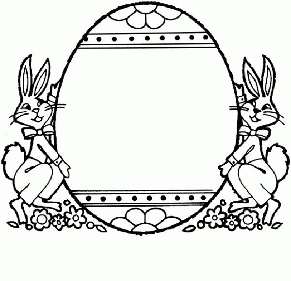 Easter coloring printables: Easter bunnies with egg