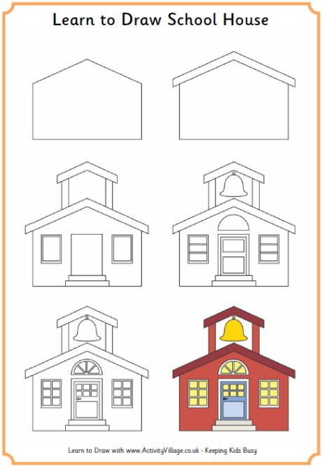 Learn to draw a school house printables back to for How to draw a two story house step by step