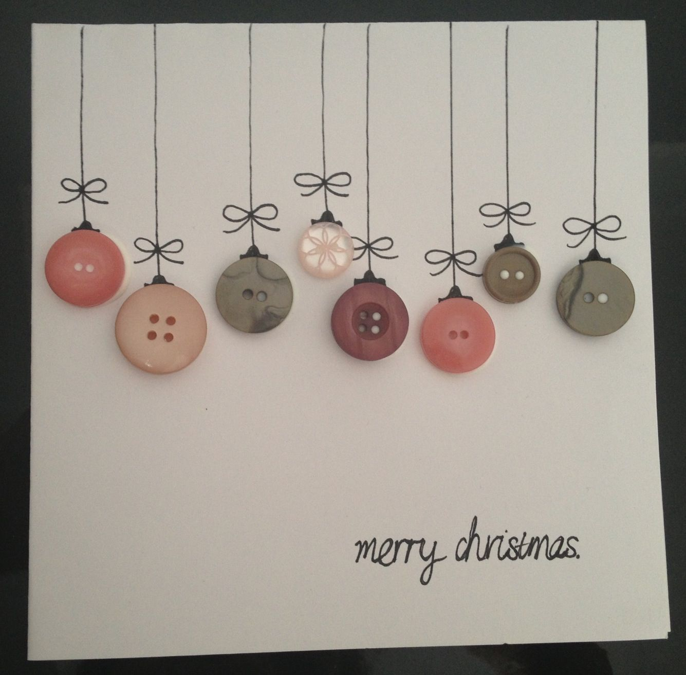 Homemade Christmas cards. Buttons and print or draw on card.