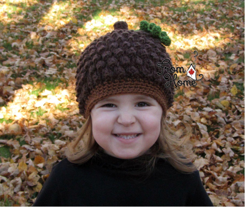 62060556c600f Acorn, Pinecone Beanie Hat, Newborn, Baby, Toddler, Child, Costume ...