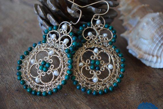 Sale Big Mllachiit & Pearls stunning Crochet by StavHoffmanJewlery,