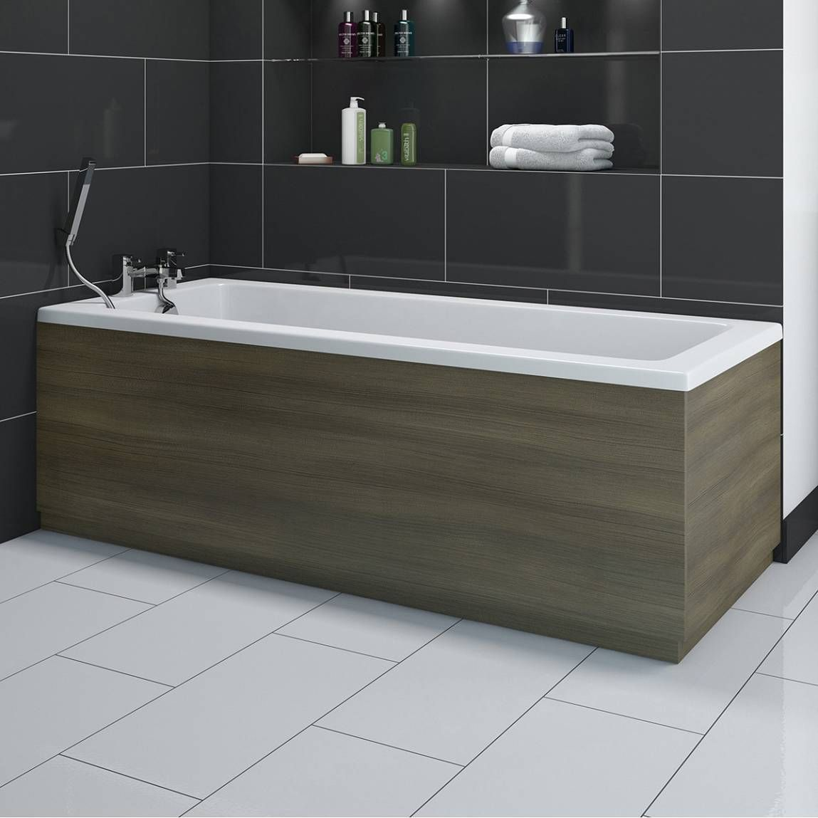 Drift Walnut Wooden Bath Side Panel 1800 Victoria Plumb