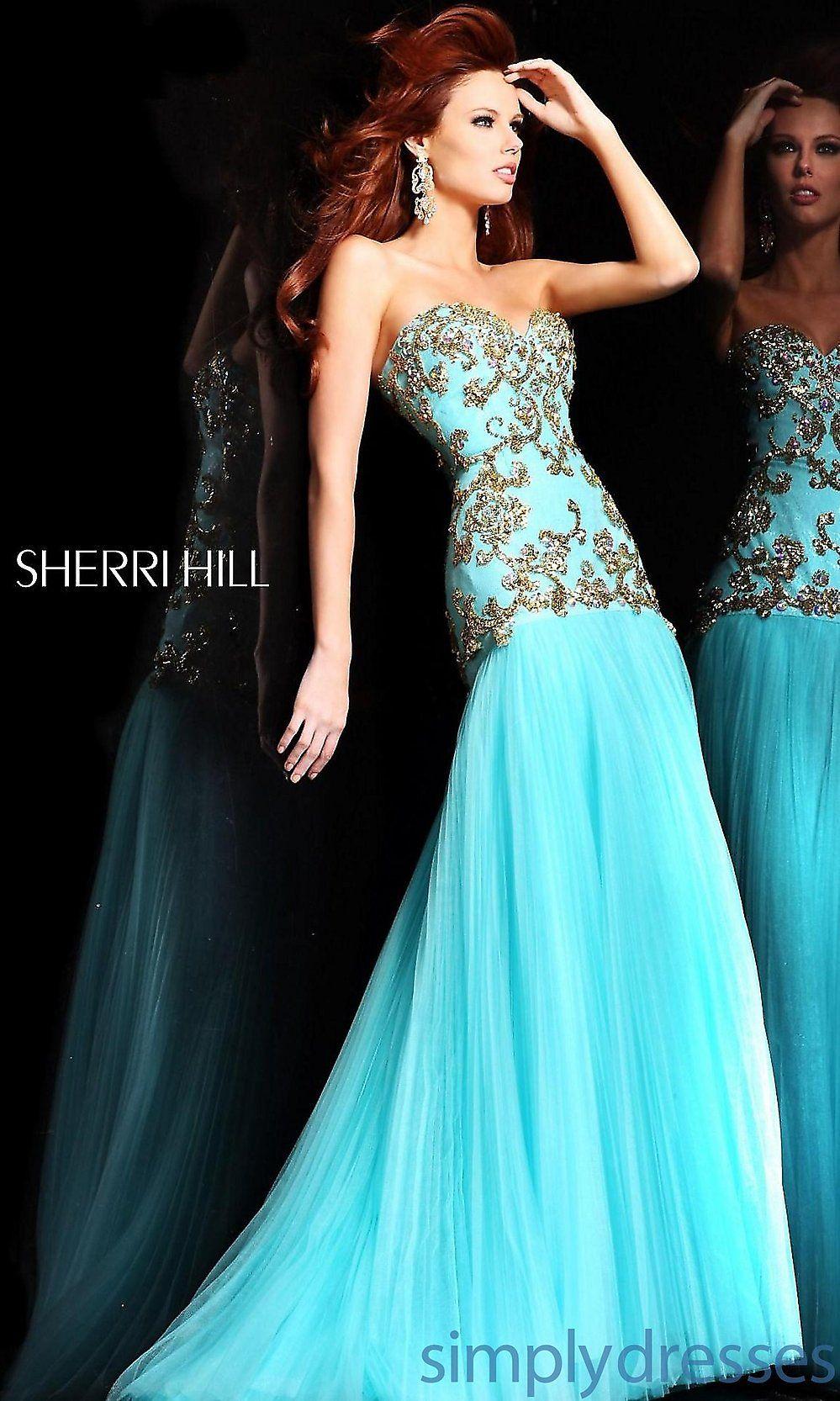 Sherri Hill Strapless Gown, Elegant Prom Dresses - Simply Dresses ...