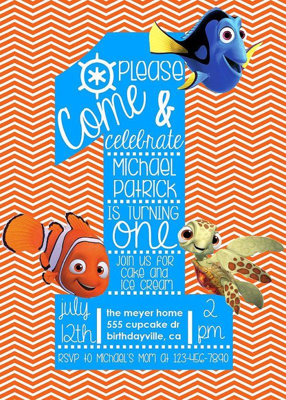 Finding Nemo Birthday Invitation Custom By Sosimplydesign On