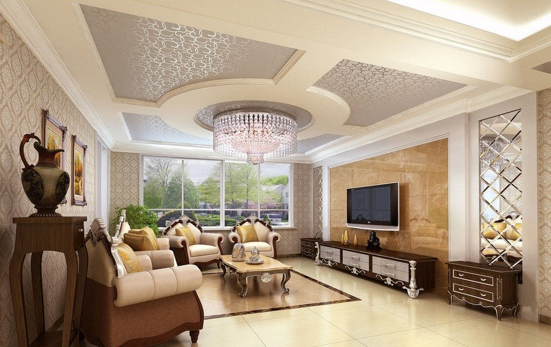 Ceiling design in living room shows more than enough for Room decoration design