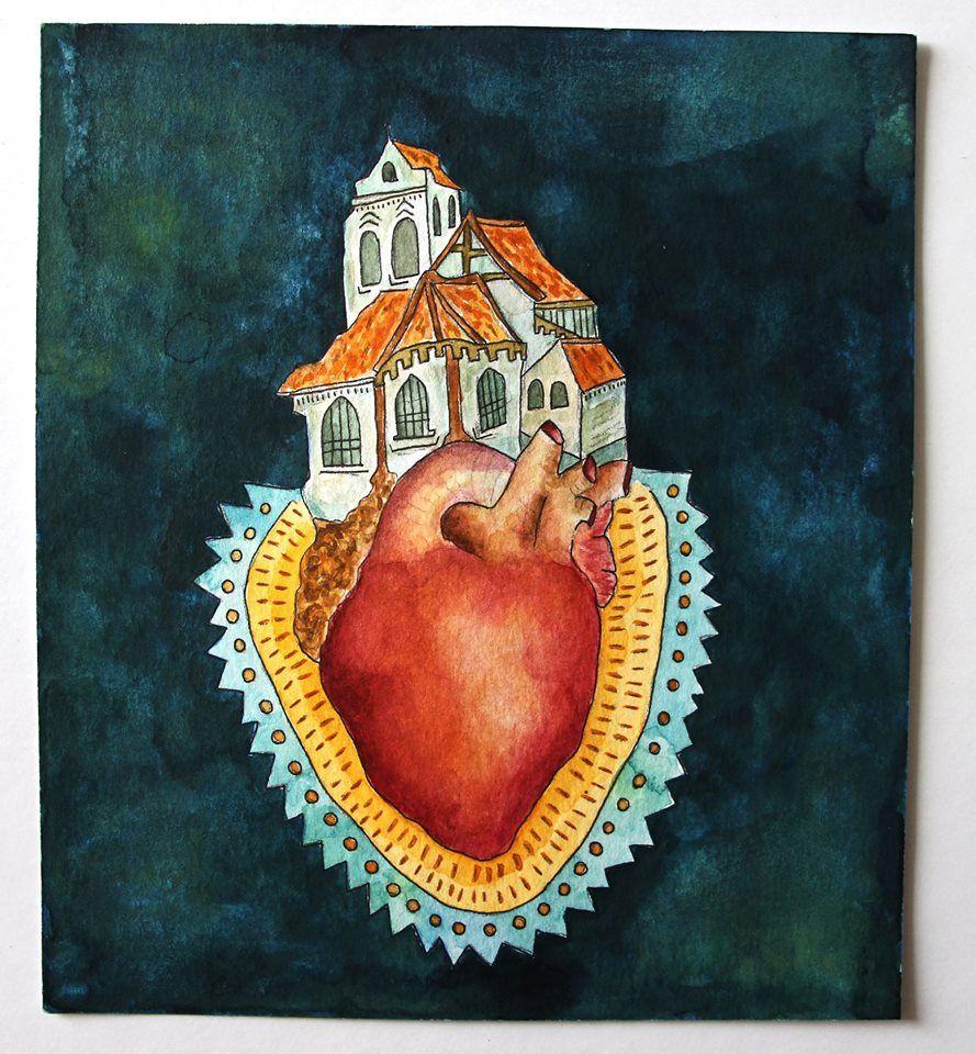 Casa do coração Aquarela
